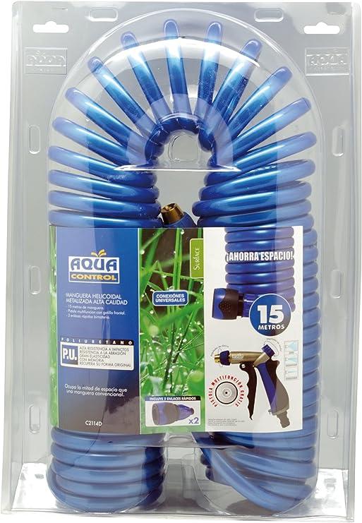 Aqua Control C2114D - 15 m. de manguera helicoidal de jardín fabricada en poliuretano y con pistola