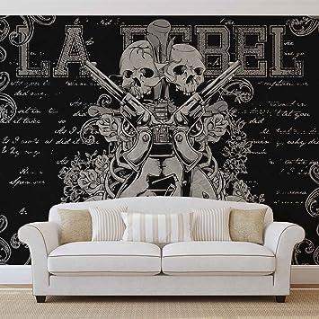 Rock Gitarre Totenkopf Pistolen Forwall Fototapete Tapete Fotomural Mural Wandbild
