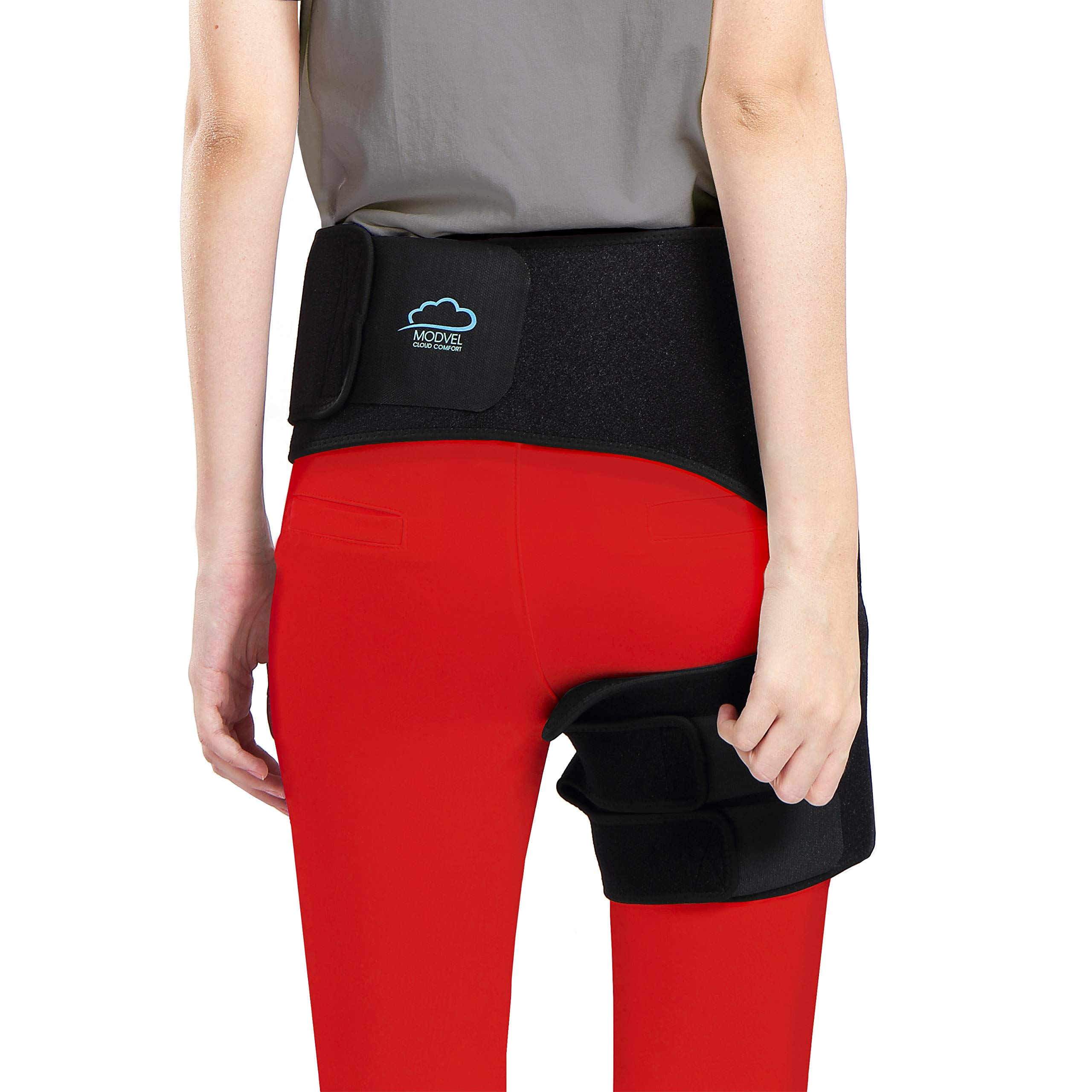 Modvel Comfortable Sciatica Pain Relief Hip Brace for Men & Women | Neoprene & Adjustable Strap | Anti-Slip & Sweat-Resistant | Perfect for Groin, Quad & Hamstring Injury Recovery (MV-135) by Modvel