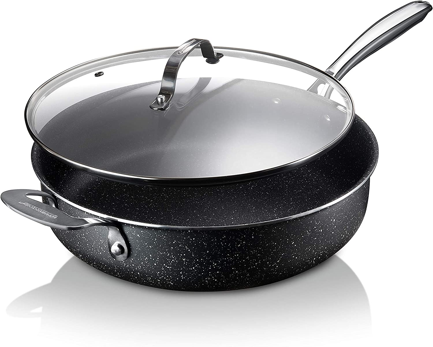 Granitestone Sauté Pan 5.5 Quart Multipurpose Nonstick Jumbo Cooker with Glass Lid, Stainless Steel Handle & Helper Handle, Oven & Dishwasher Safe, 100% PFOA FREE, Large, Black
