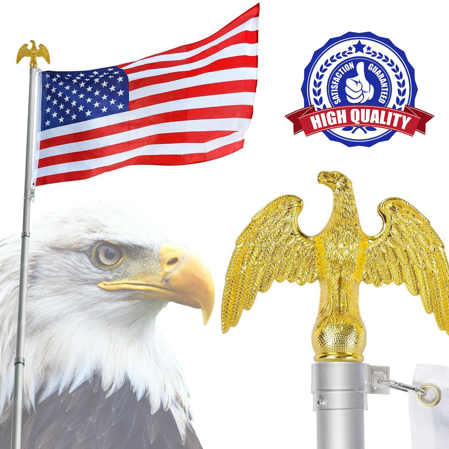 Koval Inc. アルミ伸縮式 旗竿キット 米国旗付き。 Finial Gold Eagle Flag Pole Top B06XT635N6 12617 Finial Gold Eagle Flag Pole Top