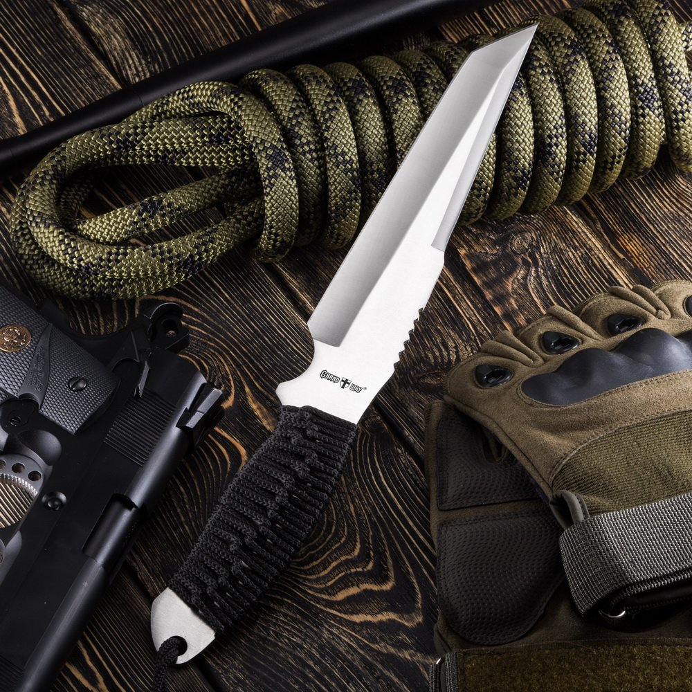 Grand Way Tactical Survival Throwing Paracord Knife - Stainless Steel Blade - Thrower with Black Stylish Handle - Everyday Sports, Fighting and Rescue - Self-Defense and Camping FL 16710 by Grand Way (Image #2)