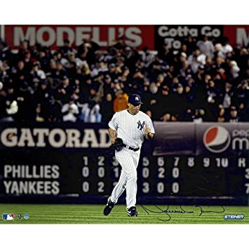 ee3e7fcaa Mariano Rivera Signed Yankees Home Jersey Run Onto The Field Horizontal  16x20 Photo (Signed In