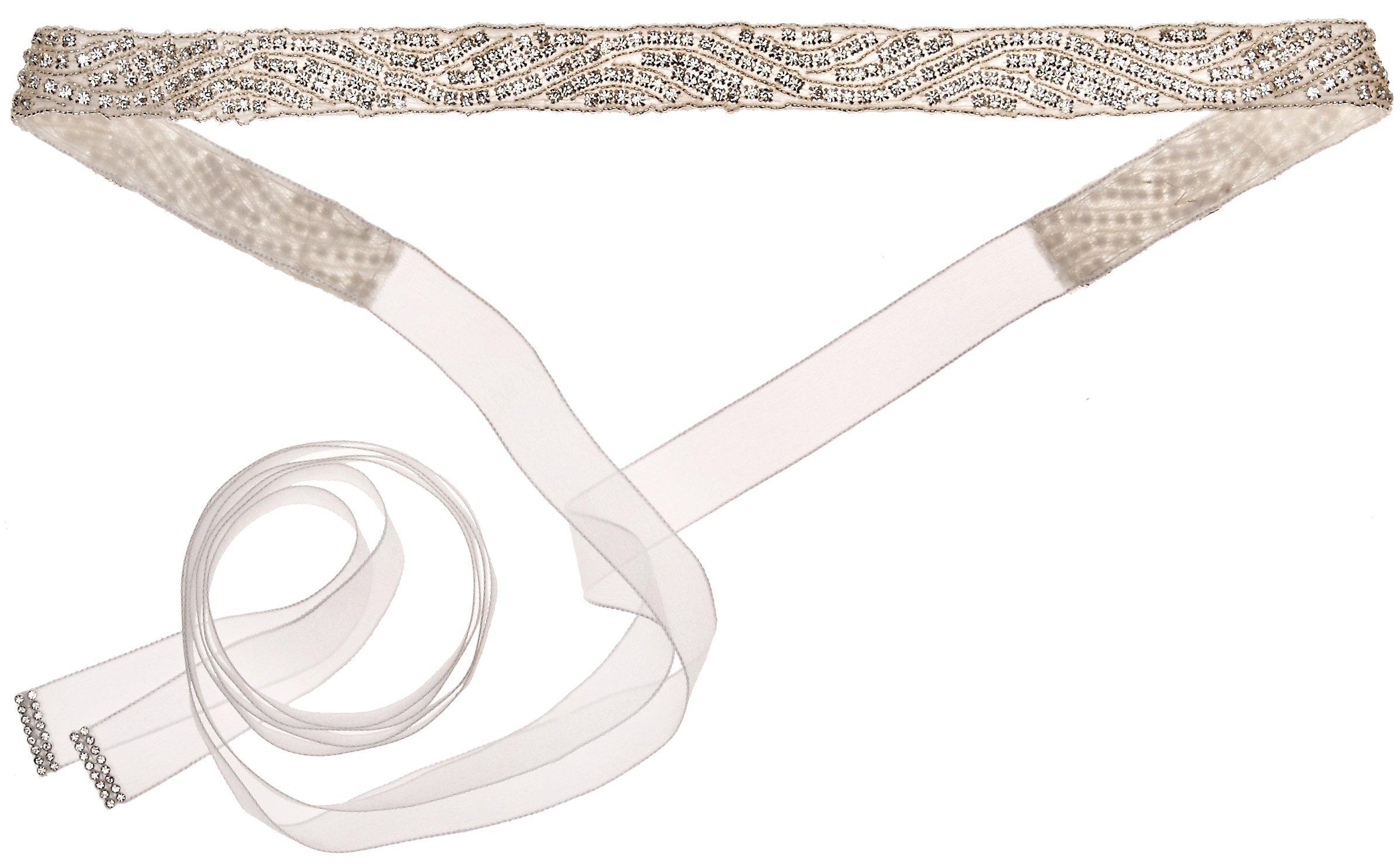 Nina Women's Pazely Art Deco Organza Bridal Belt, Ivory One Size