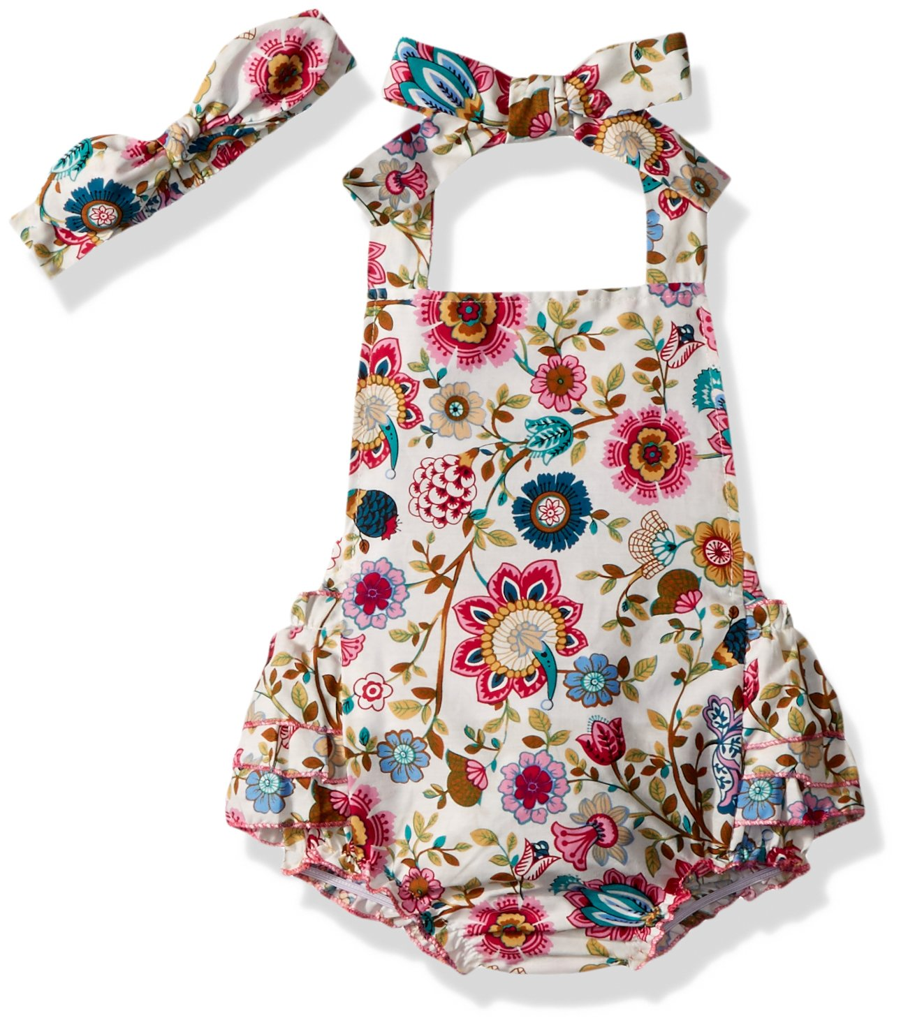 Slowera Baby Girls 2pcs Sets Cotton Ruffles Romper Outfits Clothes L24months White