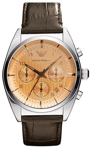 Emporio Armani AR0395 - Reloj cronógrafo de Cuarzo para Hombre, Correa de Cuero Color Negro