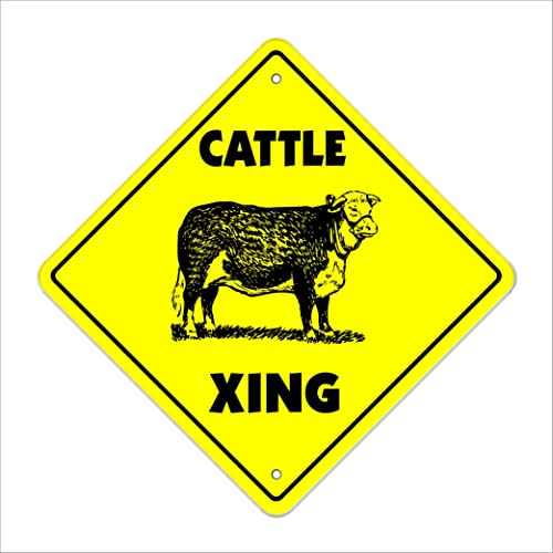 "Cattle Crossing Sign Zone Xing | Indoor/Outdoor | 12"" Tall steer cow dairy"