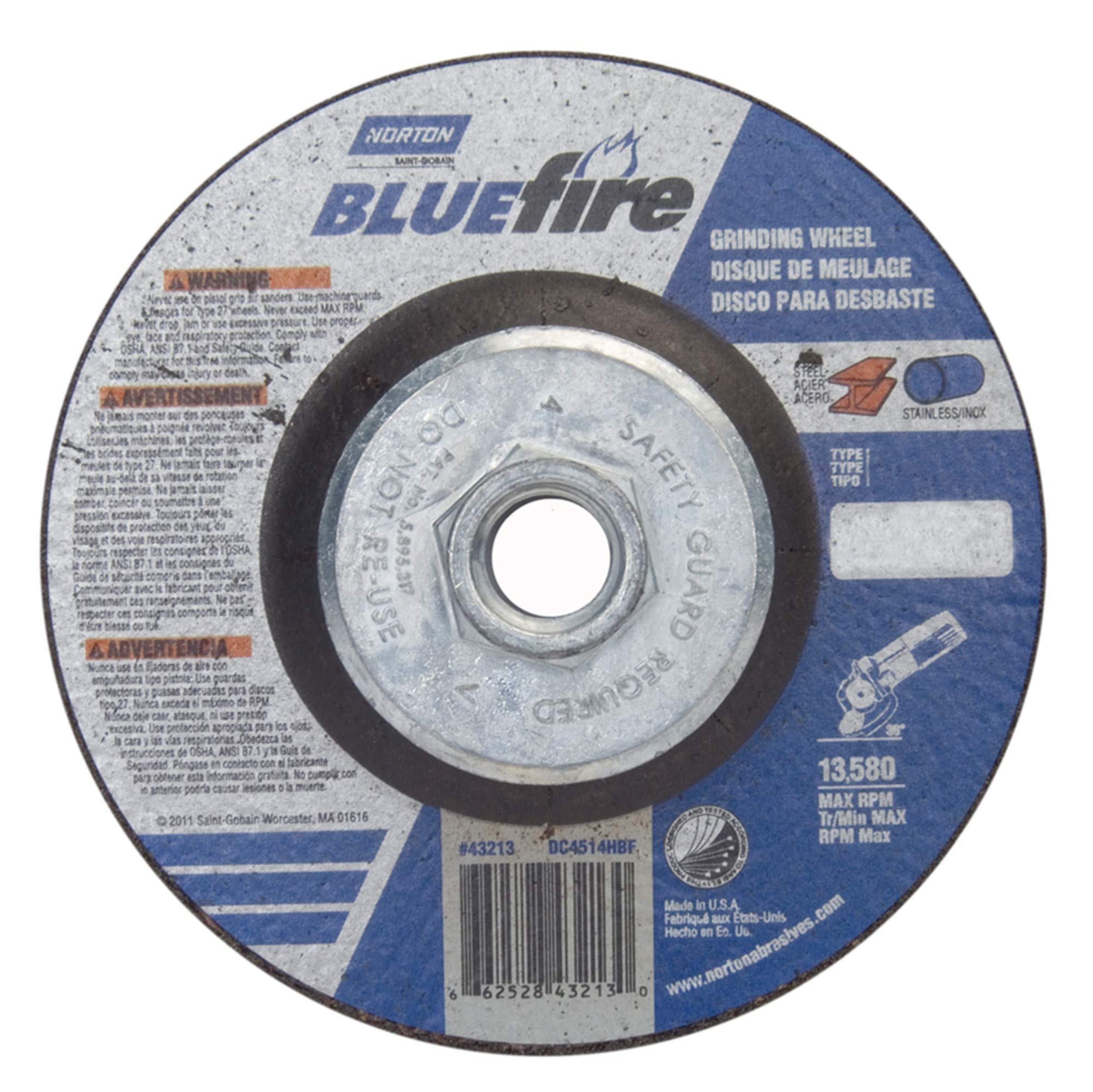 Norton Blue Fire Plus Depressed Center Abrasive Wheel, Type 27, Zirconia Alumina and Aluminum Oxide, 5/8''-11 Hub, 4-1/2'' Diameter x 1/4'' Thickness (Pack of 10)