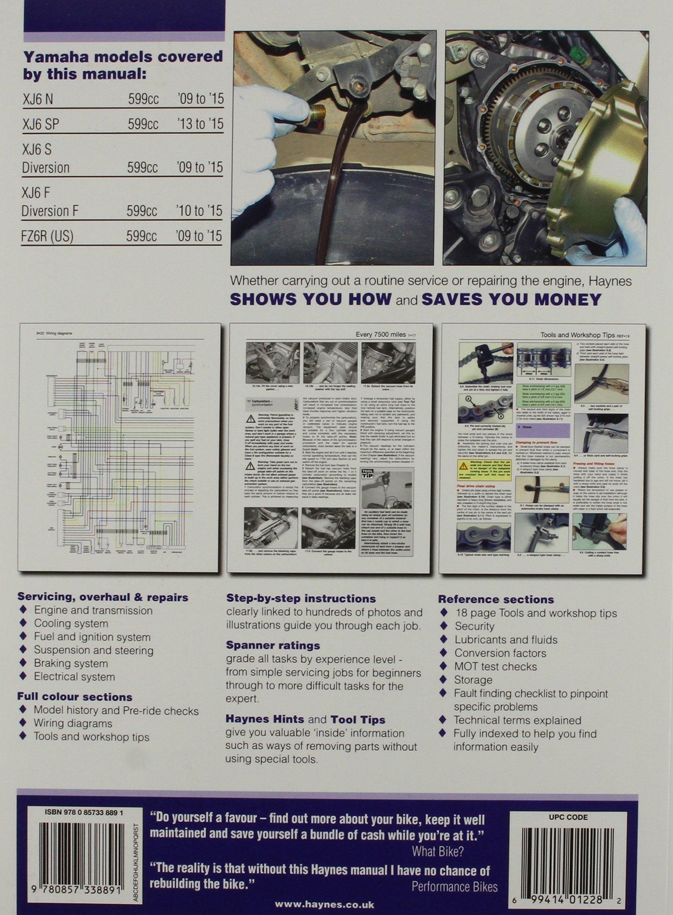 Yamaha Xj6 Fz6r Haynes Powersport Anon Wiring Diagram 9780857338891 Books