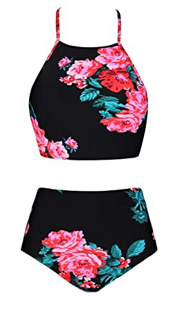 bb600198703 Fancyskin Women's Two Piece Swimsuit Retro Strappy Banded Crop Top High  Waisted Floral Bikini Set,