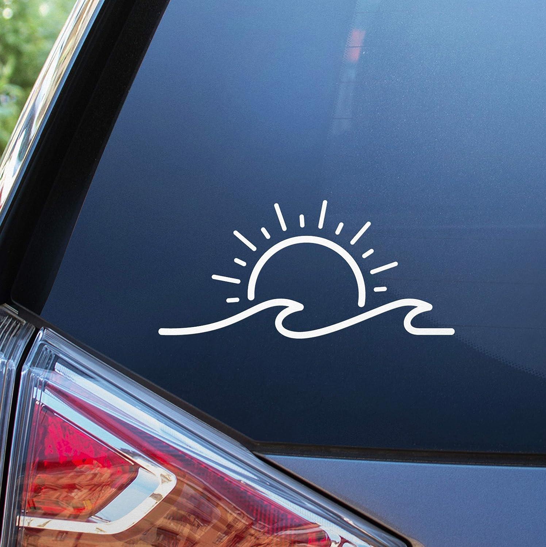 "Blue Giraffe Sun & Wave 7"" Car Decal - Beach Bumper Sticker"