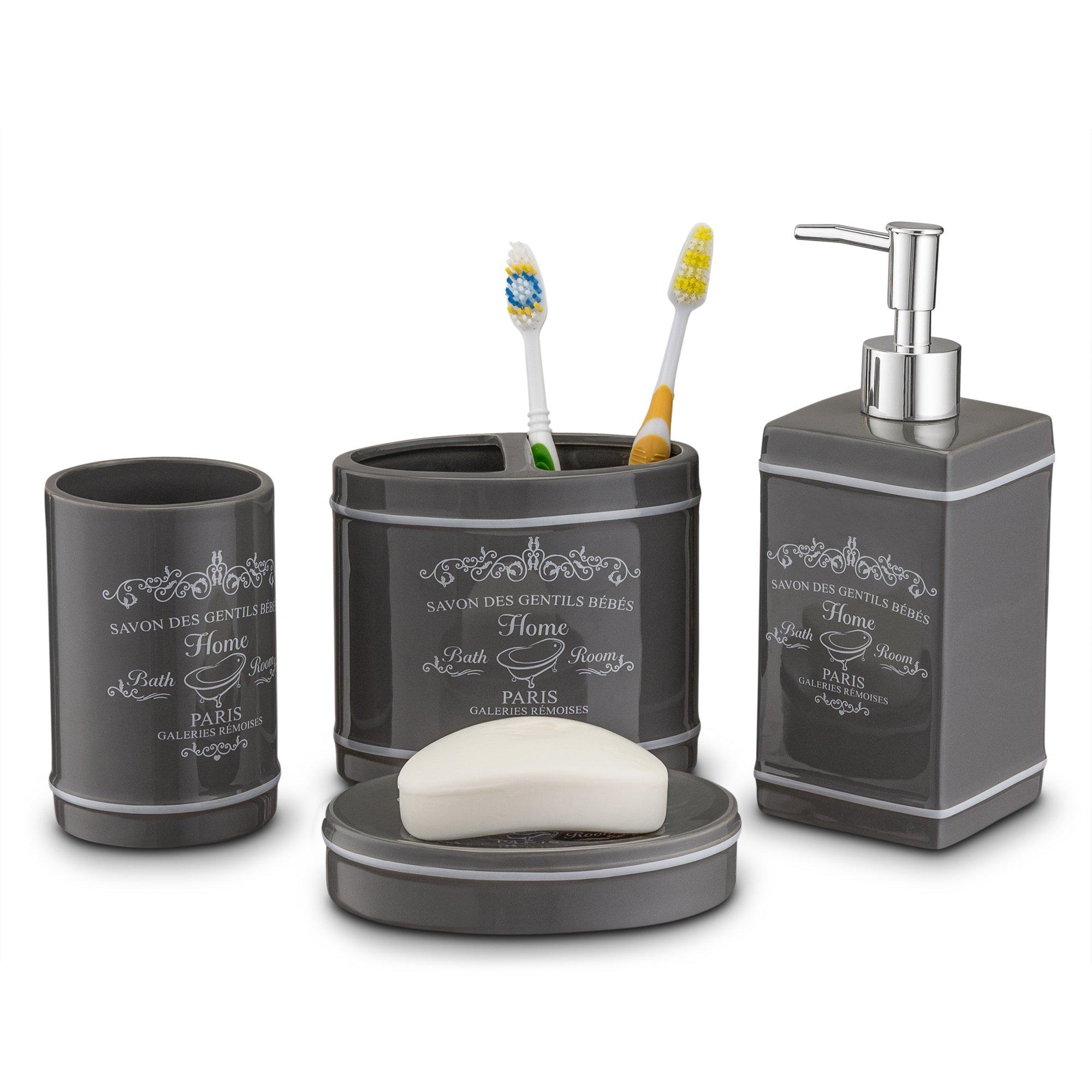 4 piece bathroom accessories set bath soap dispenser dish - Bathroom accessories soap dispenser ...