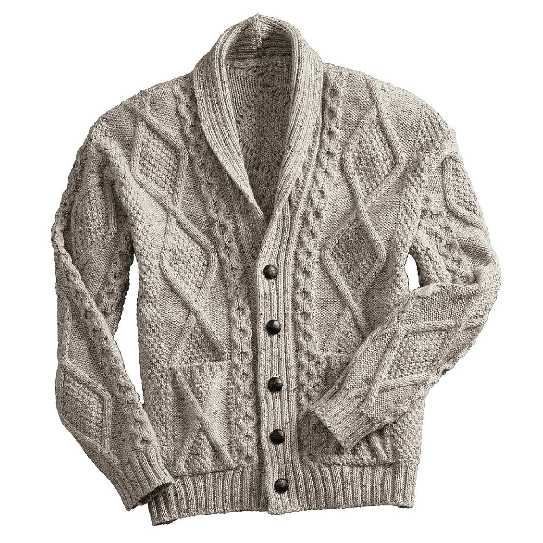 West End Knitwear Men's Aran Shawl Collar Cable Knit Cardigan ...