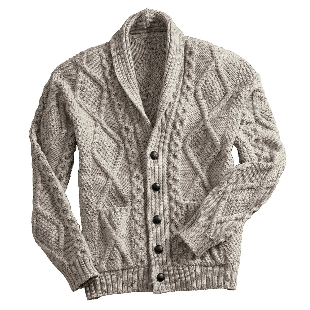 Men's Aran Shawl Collar Cable Knit Cardigan Sweater - Oatmeal - XXL by West End Knitwear