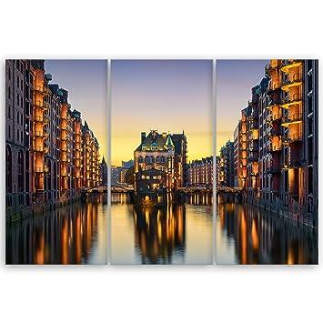 Hamburg 3 Bilder Speicherstadt Bild auf Leinwand Wandbild Poster