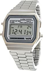 Classic Mens Silver with Silver Stainless Steel Digital Display Watch & Swanson Zipper Travel ...