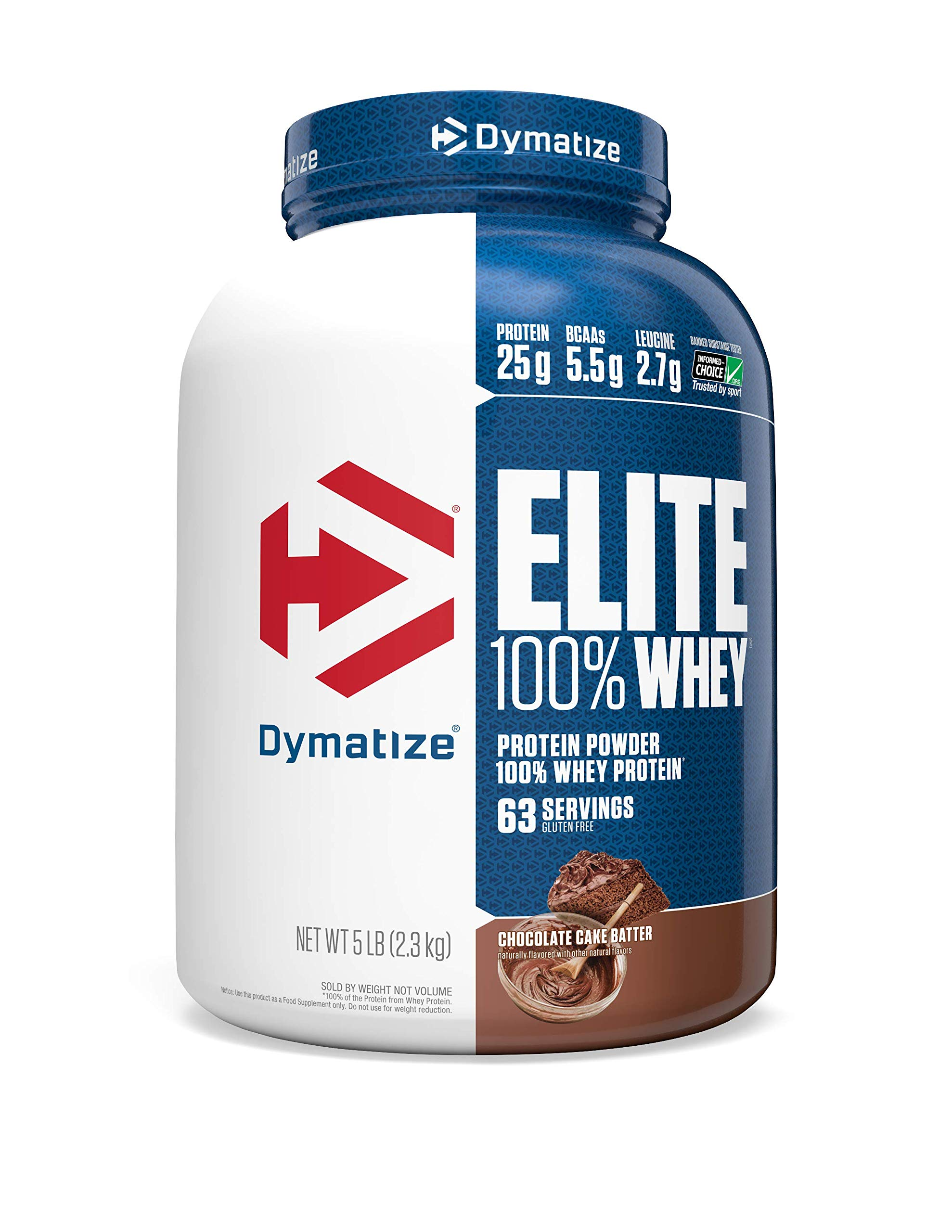 Dymatize Elite 100% Whey Protein Powder, Take Pre Workout or Post Workout, Quick Absorbing & Fast Digesting, Chocolate Cake Batter, 5 Pound by Dymatize