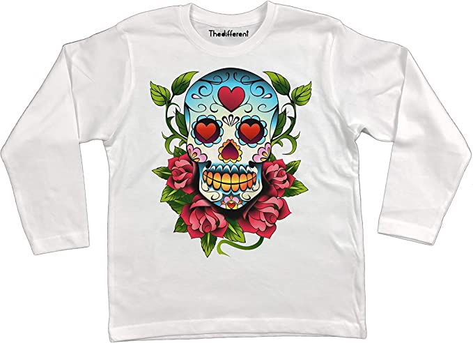 Bianco thedifferent T-Shirt Manica Lunga Unisex Bambino Bambina Teschio Messicano Skull