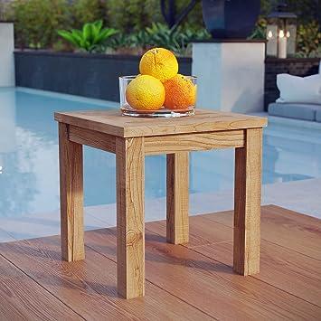 Amazon Modway Marina Outdoor Patio Teak Side Table Natural