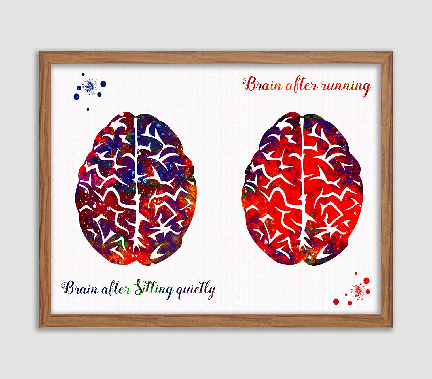 Runner's Brain Watercolor Print Brain After Sitting Quietly Brain After Running Quote Poster Brain And Running Sport Print House Warming Wall Art