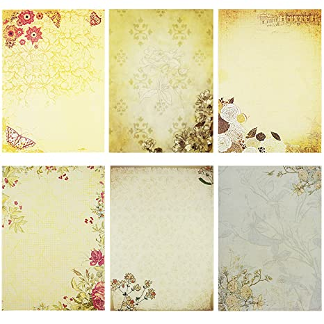 image about Decorative Paper Printable identify Rancco Stationery Paper/Letter Creating Paper, 60 personal computers Printable Kraft Paper, Letter Crafting Paper Mounted, Various Flower Design and style Attractive Paper Pad,