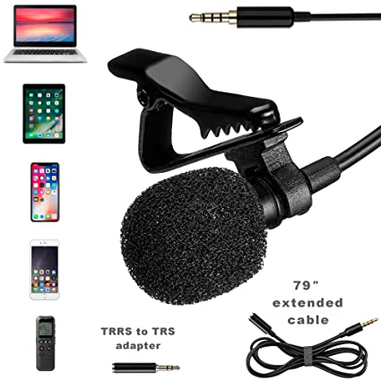 Lavalier Microphone - Professional Lapel Mic For Recording Interview,  Podcast, Speech, Vlog, Video, Youtube - External Mic For IPhone, Android,  Laptop