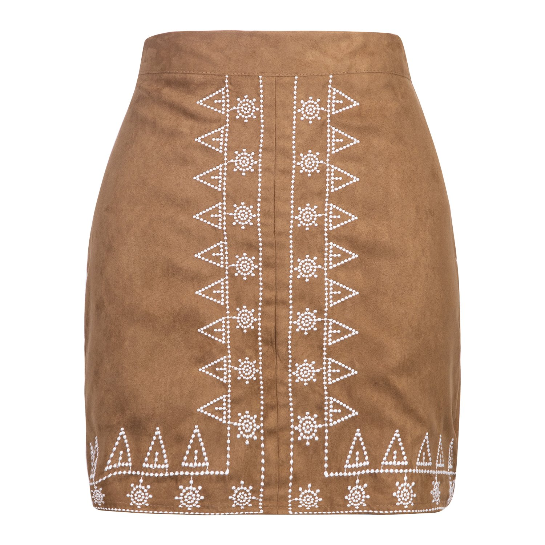 Style 2 Brown Clothink Women Velvet Button Front High Waist ALine Mini Skirt