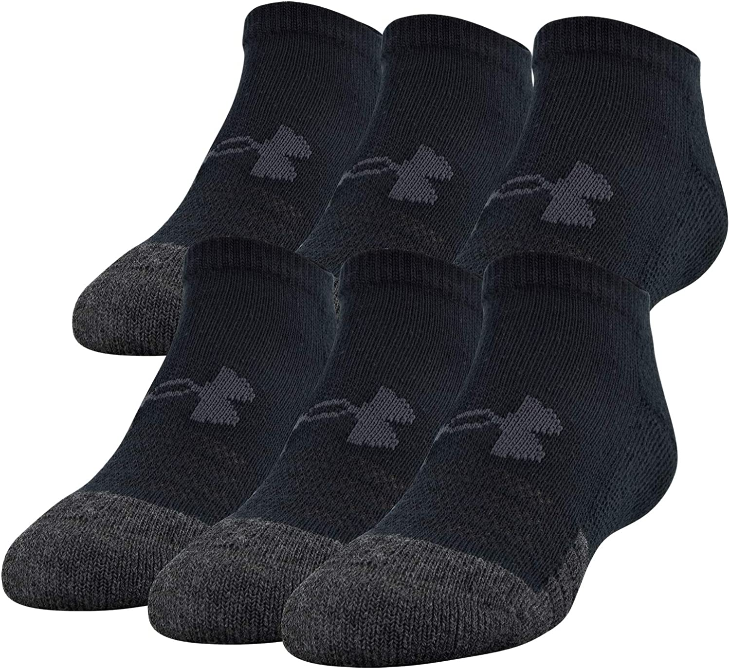 Under Armour Youth Performance Tech No Show Socks, 6-Pairs , Black , Shoe Size: Youth 13.5K-4Y: Clothing