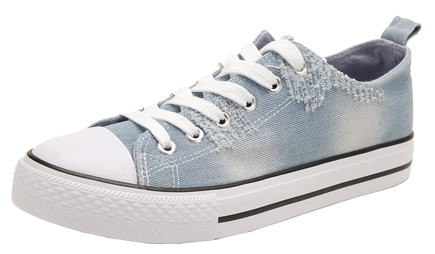 PEPSTEP Canvas Sneakers for Women/Light Blue/Navy/Black Casual Shoes Low Top Lace up Fashion Sneakers B073X49BF8 6.5 B(M) US|Light Blue