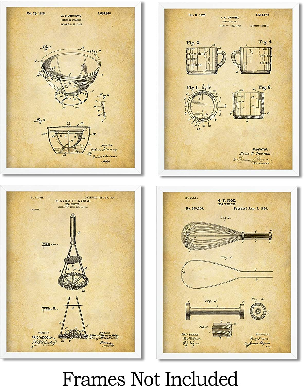 Kitchen Set Of 3 Patent Prints Unframed Poster Wall Art Dining Room Decor
