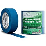 """Painters Tape, No Residue Crepe Paper Masking Tape for Multi Surfaces, Eco Friendly 21 Day Clean Easy Removal, Contractor Grade Blue Painters Tape, Package of 3 Rolls 1.41"""" x 60 YD (36MM x 54.8M)"""
