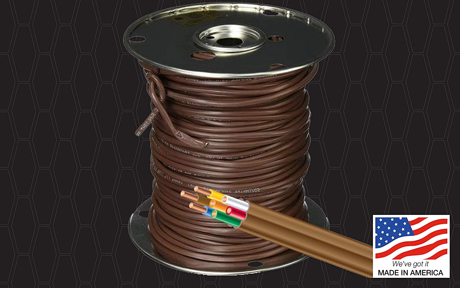 Southwire 64169622 5 Conductor 18/5 Thermostat Wire, 18-Gauge Solid Copper Class 2 Power-Limited Circuit Cable, 50-Feet, Brown - Electrical Wires -