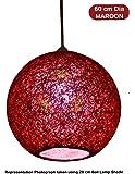 Salebrations 60 cm Dia Maroon Hanging Ball Lamp Shade With Yarn And Led Bulb