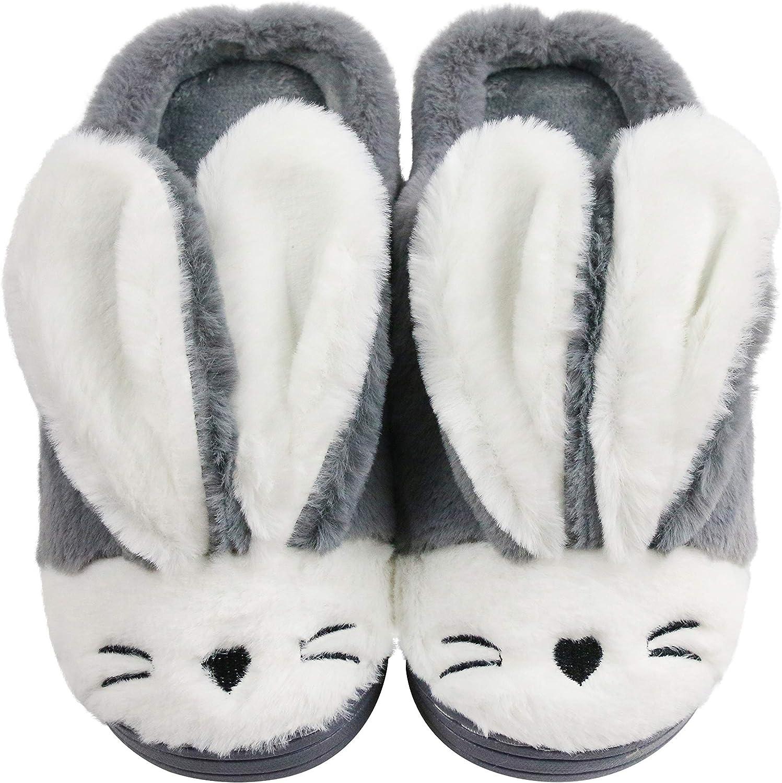 Sanfiago Women Memory Foam House Slippers Cozy Cute Bunny Animal Home Slipper Indoor Outdoor Birthday for Girls Ladies