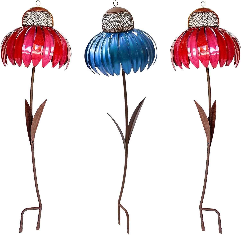 2Pcs Pink/1Pcs Blue Sensation Cornflower Hummingbird Feeder Outdoor Premium Standing Bird Feeder Metal Garden Art Flower Pole Stand with Food Bowl Wild Bird Feeder for Bird Watching Garden Decoration