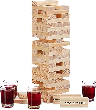 Relaxdays Juego para Beber Torre de Madera, Drunken Tower, 4 Chupitos, Fiestas de Adultos, 20 x 7 x 7 cm, Marrón, Vidrio: Amazon.es: Hogar