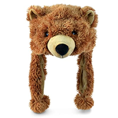 "Puzzled 16"" Soft Grizzly Bear Plush Hat Cozy Party Costume Head Accessories, Bear Hat Plushie, Wild Animal Toy, Funny Beanie Stuffed Animals Hat, Warm Fleece Crazy Hats, Kids Winter Hat - One Size: Clothing"