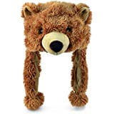 """Puzzled 16"""" Soft Grizzly Bear Plush Hat Cozy Party Costume Head Accessories, Bear Hat Plushie, Wild Animal Toy, Funny Beanie"""