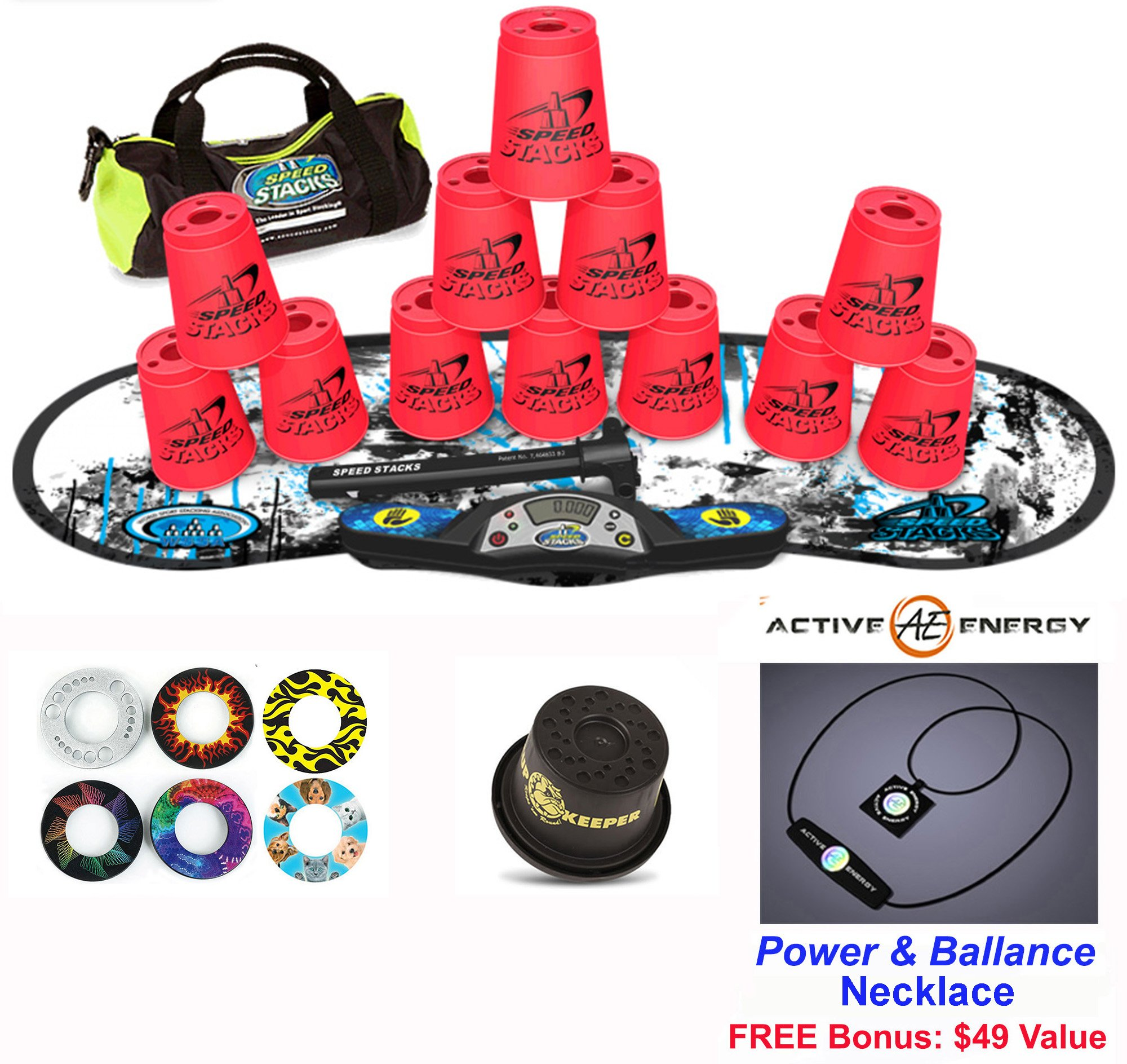 Speed Stacks Combo Set ''The Works'': 12 NEON PINK 4'' Cups, REBEL MUDD Gen 3 Mat, G4 Pro Timer, Cup Keeper, Stem, Gear Bag, 6 Snap Tops + Active Energy Necklace by Speed Stacks