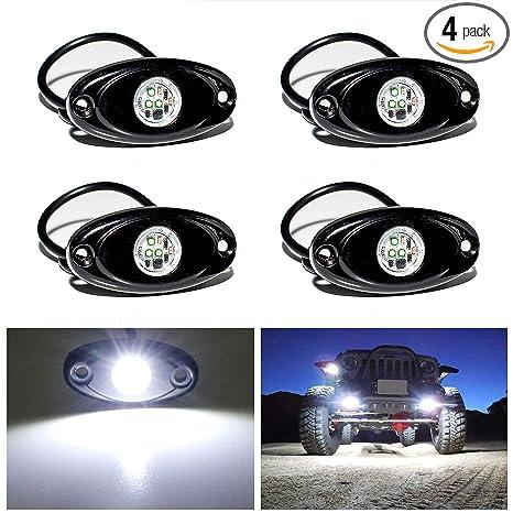 Amazon.com: Luces LED de roca, 4 puntos, impermeable, luz ...