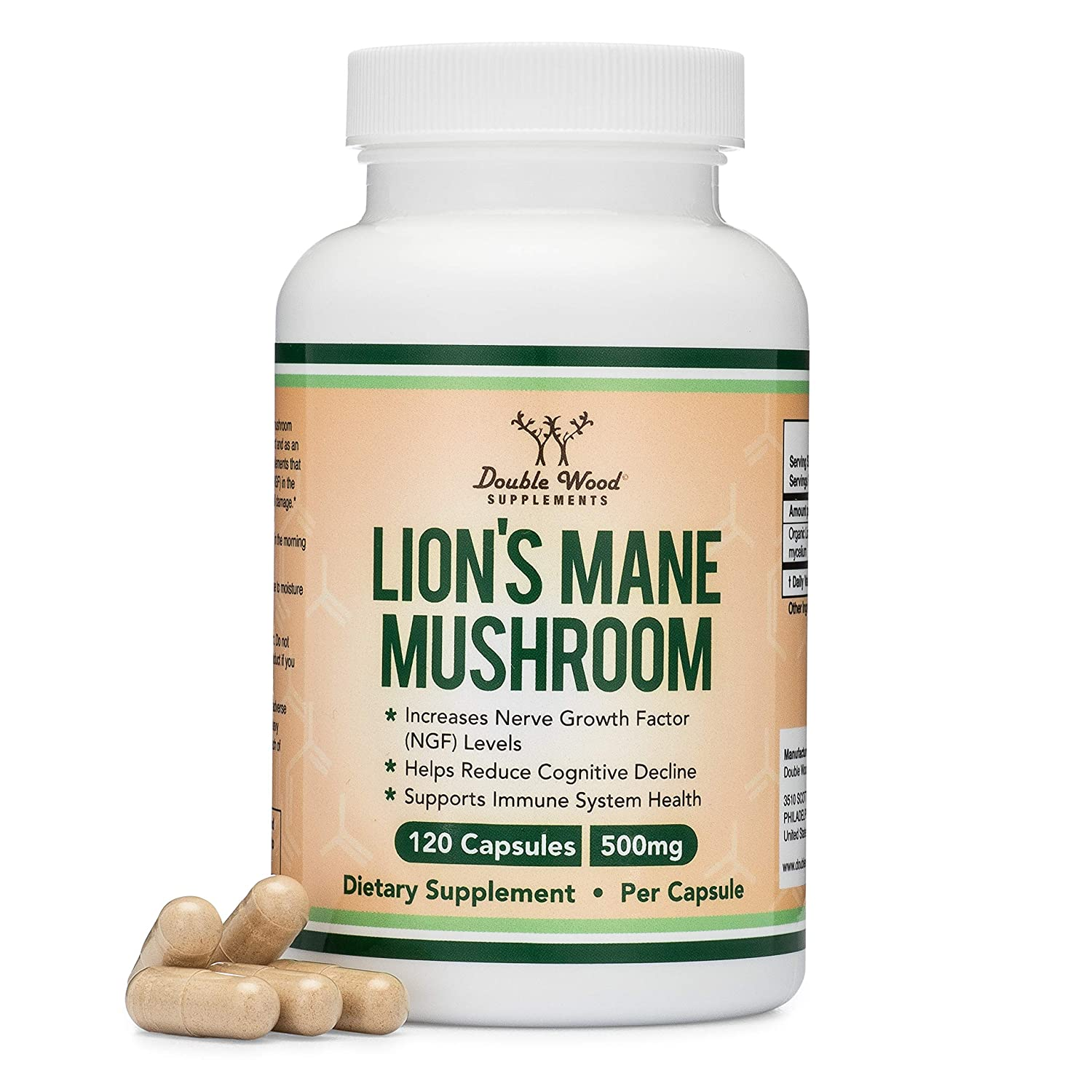 Lions Mane Mushroom Capsules (Two Month Supply - 120 Count) Organic and  Vegan Supplement - Nootropic for Brain Health and Growth, Immune Booster,  Made