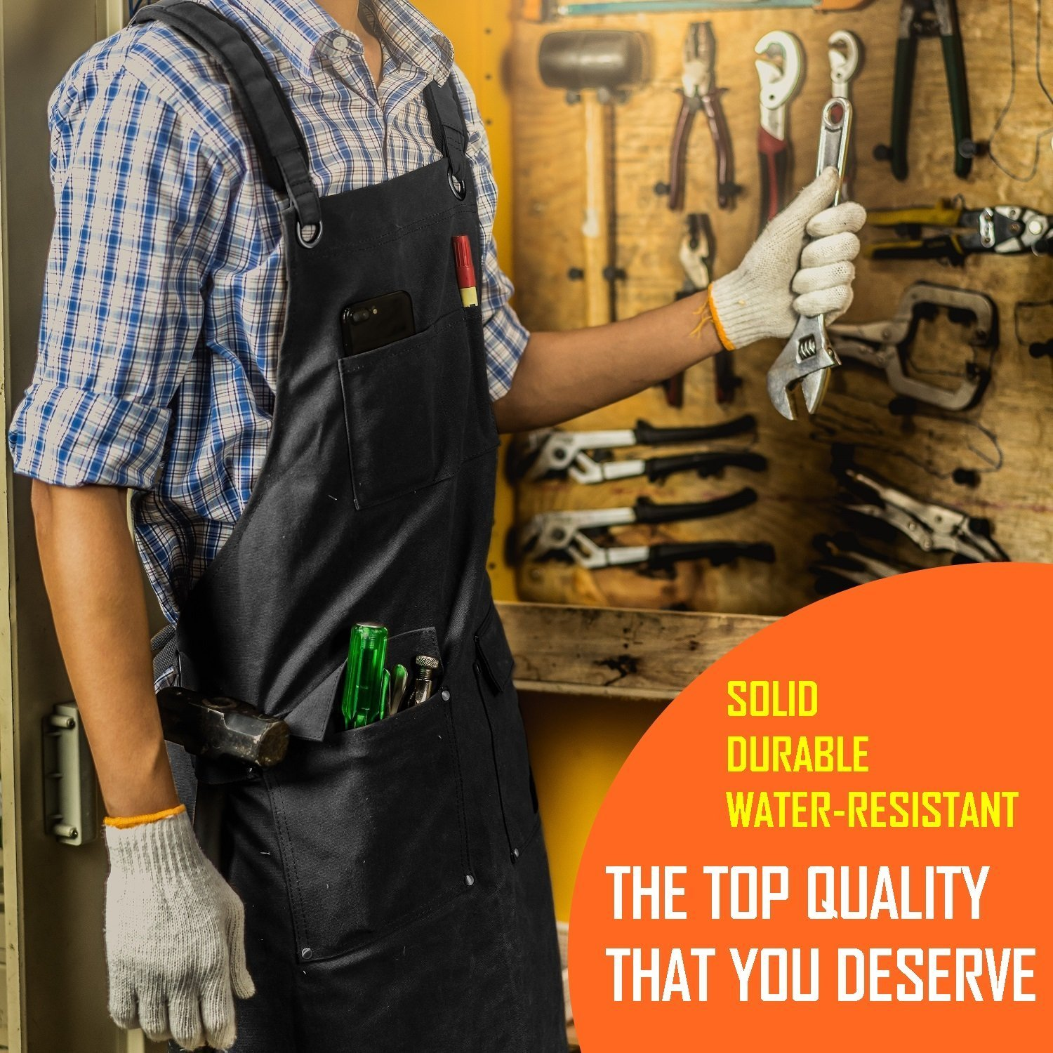Luxury Waxed Canvas Shop Apron | Heavy Duty Work Apron for Men & Women with Pocket & Cross-Back Straps | Adjustable Tool Apron Up To XXL | Long, Thick, Water Resistant Workshop Apron in Gift Box by GIDABRAND (Image #4)