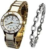 Pack montre femme doré blanche + bracelet ceramique collection dolce vita