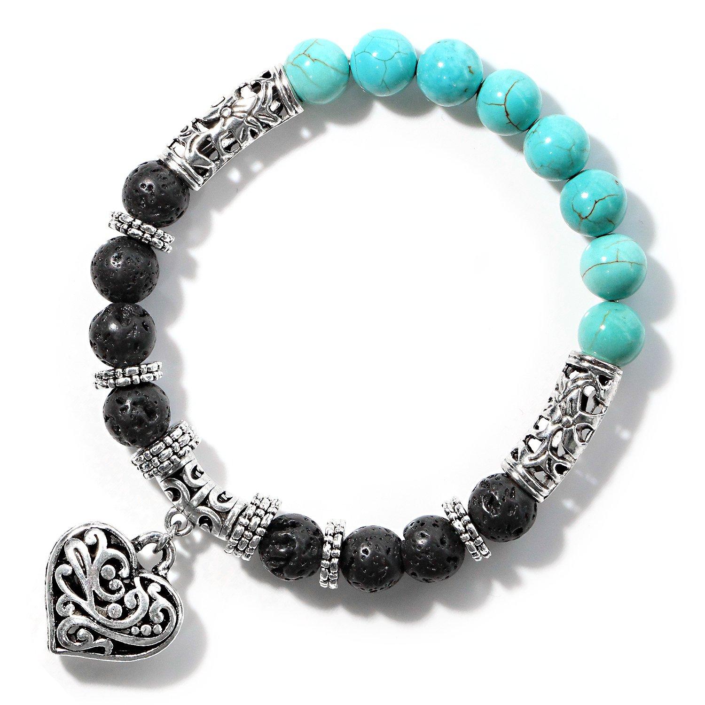 Me&Hz Turquoise Chakra Heart Charm Lava Rock Beads Bracelets Silver Natural Stone Healing Yoga Balancing Bracelet for Women