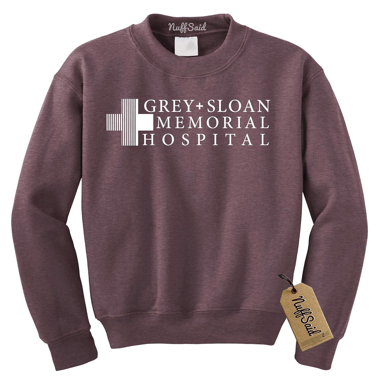 2e5c2461017b2c Amazon.com: NuffSaid Grey Sloan Memorial Hospital Sweatshirt Sweater Crew  Neck Pullover - Premium Quality: Clothing