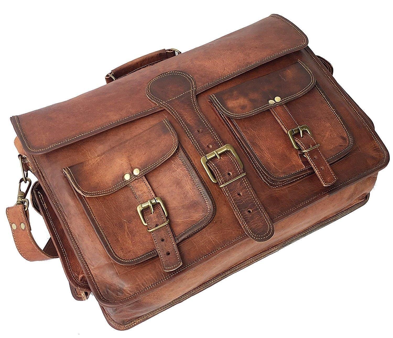 Leather Native 18'' Mens Genuine Vintage Brown Leather Messenger Bag Shoulder Laptop Bag Briefcase