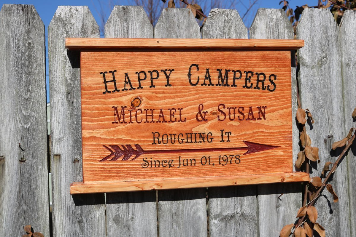 Happy Campers Wedding Anniversary Engraved Sign/Plaque