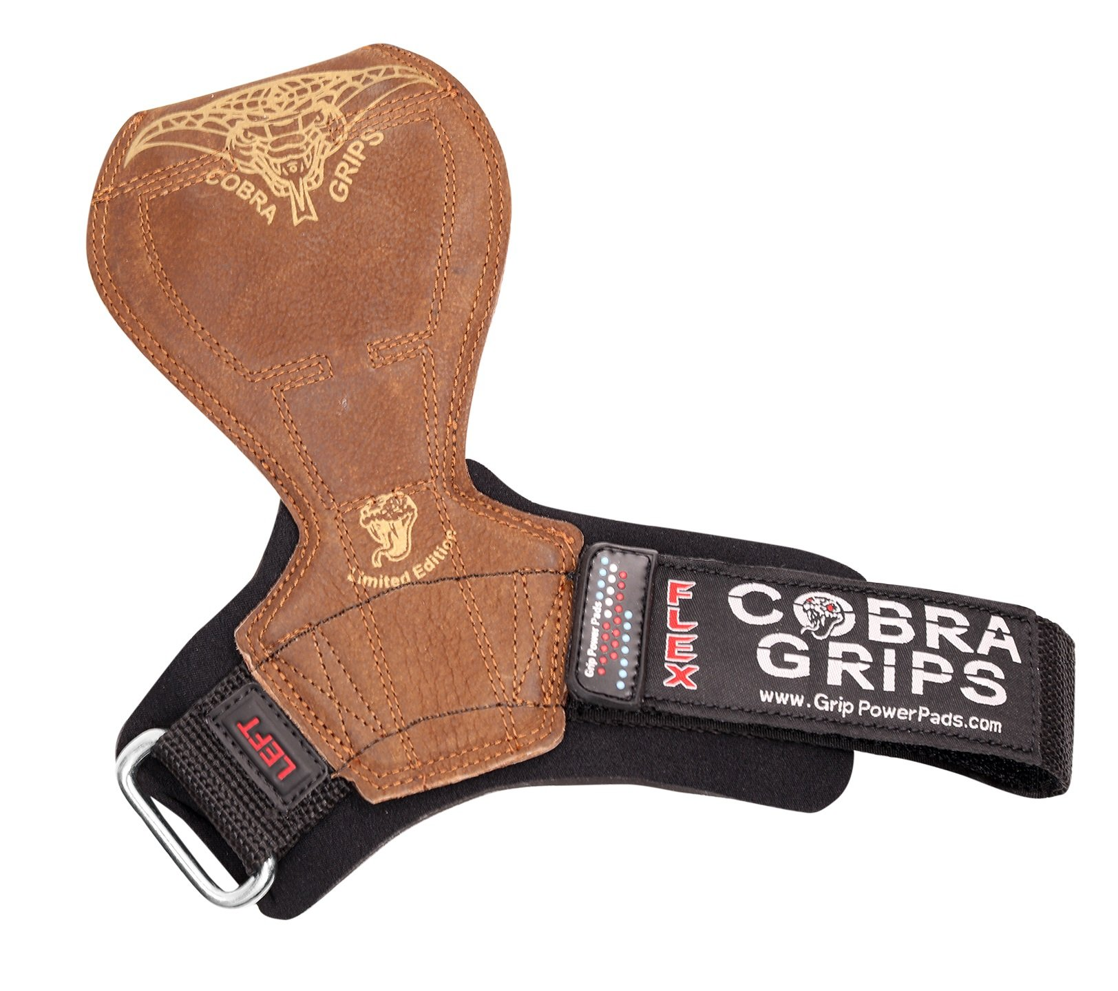 2018 Cobra Grips Flex Model Weight Lifting Gloves Heavy Duty Straps Alternative Power Lifting Hooks Best for Deadlifts with Padded Wrist Wrap Support Bodybuilding (Medium, Brown Leather) by Grip Power Pads (Image #2)