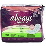 Always Maxi Soft & Clean With Odor-Lock Long/Super Without Wings, Lightly Scented Pads 20 Count (Pack of 2)