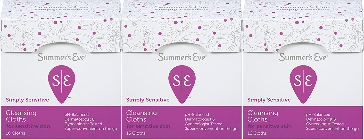 Summer's Eve Cleansing Cloths | Simply Sensitive |16 Count | Pack of 3 | pH-Balanced, Dermatologist & Gynecologist Tested